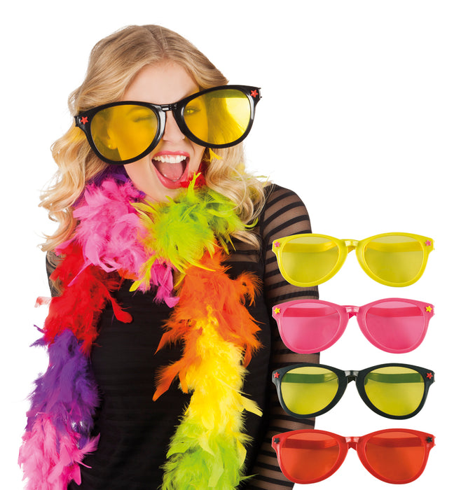 Novelty Jumbo Bright Coloured Party Glasses Fancy Dress Accessory