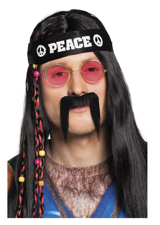 Black Hippie Peace Stick on Moustache Fancy Dress Accessory