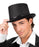 Boland Black Satin Top Hat With Black Ribbon Gentleman Fancy Dress Costume Hat