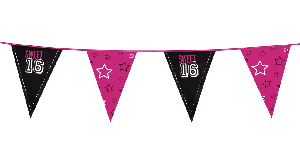 Boland BV Sweet 16 Birthday Black & Pink With Stars Bunting 6m