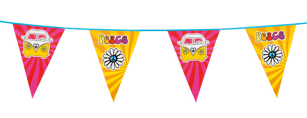 Boland 70's Hippie Peace Camper Van Party Bunting Banner Decoration 6m