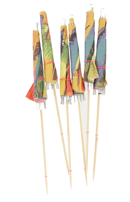 Pack Of 6 Party Tableware Beach Cocktail Stick Umbrellas