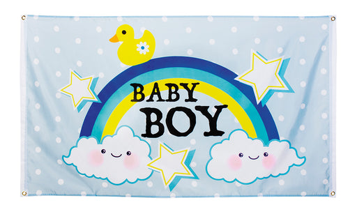 Boland Baby Shower Baby Boy Blue Flag With Rainbow & Clouds 150cm x 90cm