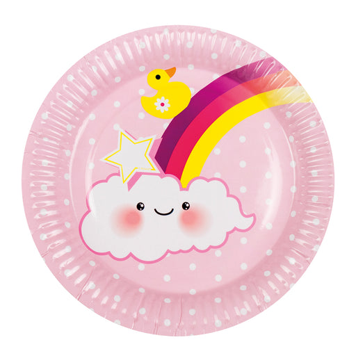 Boland Baby Shower Pink Baby Girl 6 Party Plates With Rainbow & Clouds 23cm