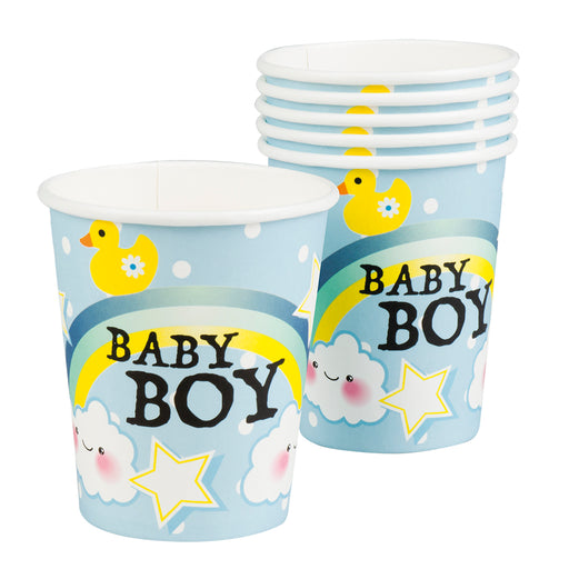 Boland Baby Shower Blue Baby Boy 6 Party Cups With Rainbow & Clouds 50cl