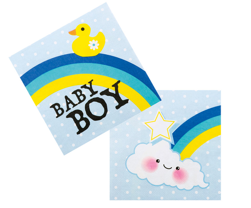 Boland Baby Shower Blue Baby Boy 12 Party Napkins With Rainbow & Stars 33x33cm