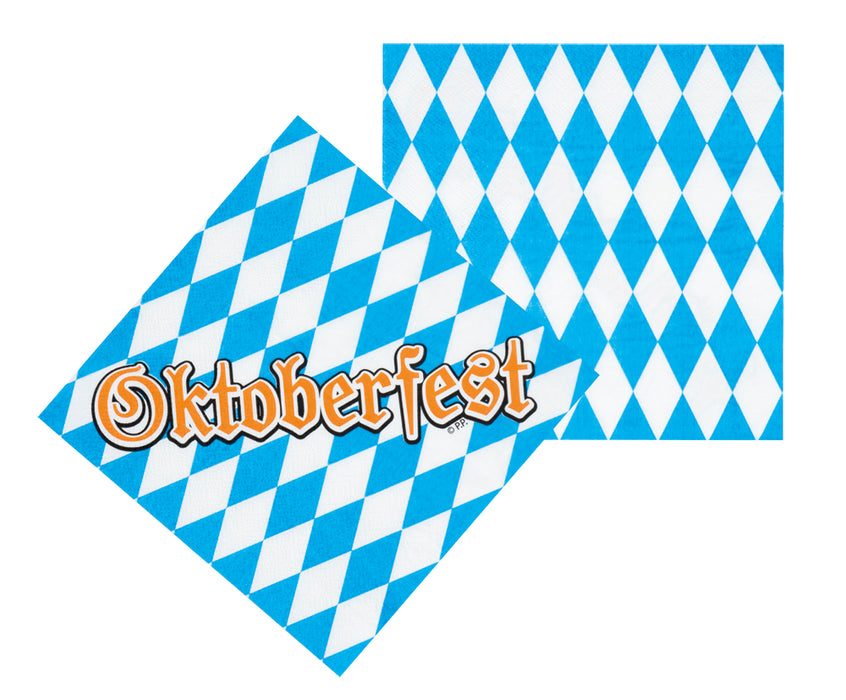 Oktoberfest Blue & White Pack Of 12 Paper Napkins Party Supplies