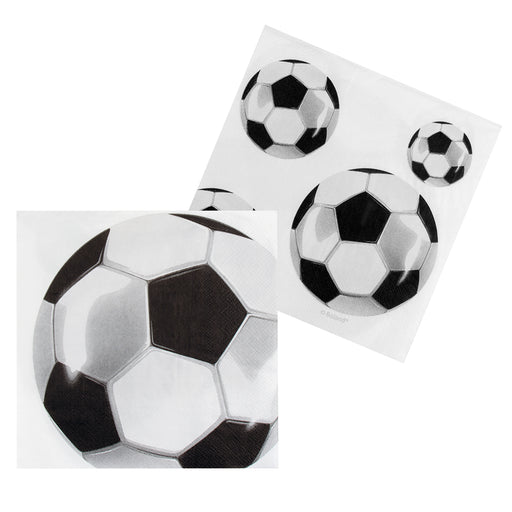 Boland White Football Paper Napkins World Cup Party Celebration Tableware 12Pack