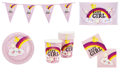 Ultimate Girl's Baby Shower Bunting, Flag, Cups, Plates & Napkins Party Decorations