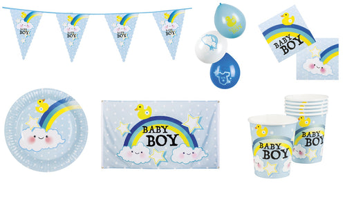 Ultimate Boy's Baby Shower Bunting, Flag, Balloons, Cups, Plates & Napkins Party Decorations