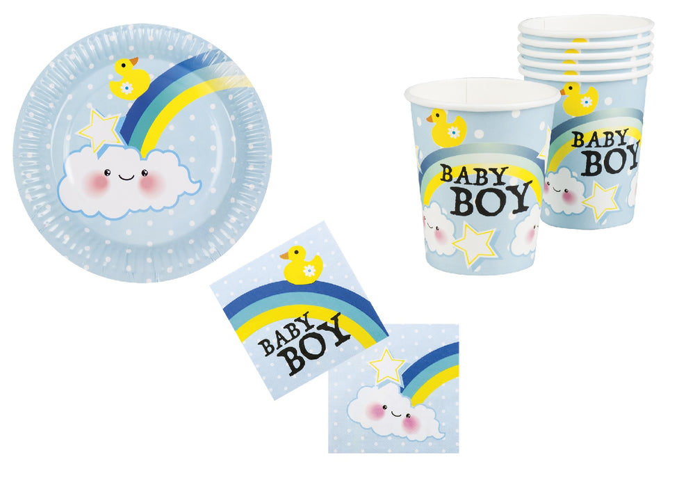 Boy�s Baby Shower Party Tableware Decoration 12 Cups, 12 Plates & 12 Napkins