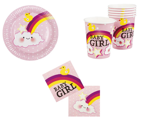 Girls Baby Shower Party Tableware Decoration 12 Cups, 12 Plates & 12 Napkins