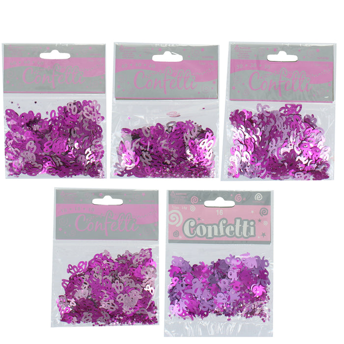 Birthday Celebration Pink And Purple Confetti Table Decoration 14g