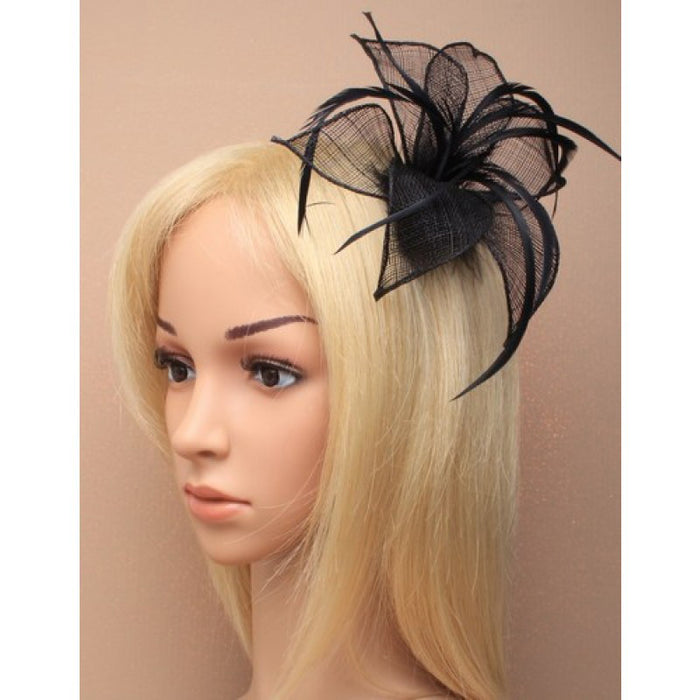 Black Fascinator on Headband/ Clip-in for Weddings, Races and Occasions-4934