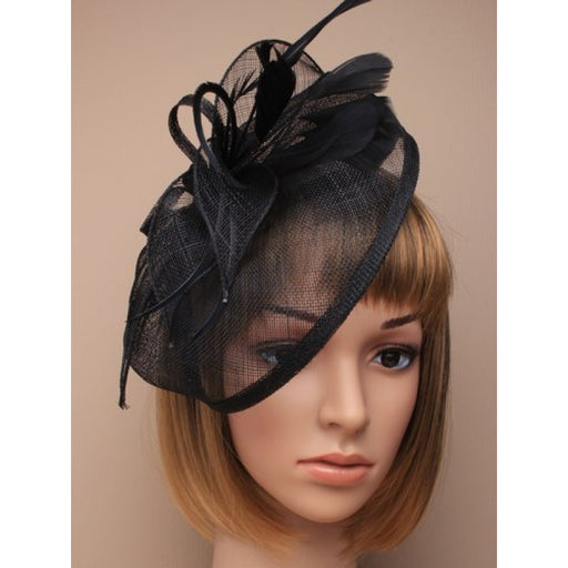 Black Fascinator on Headband/ Clip-in for Weddings, Races and Occasions-5265