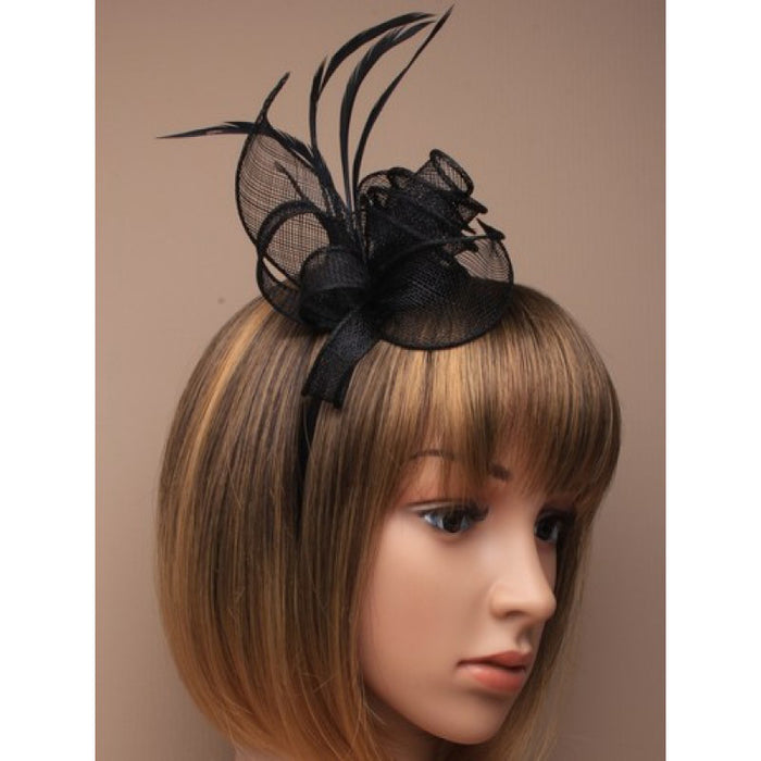 Black Fascinator on Headband/ Clip-in for Weddings, Races and Occasions-5537