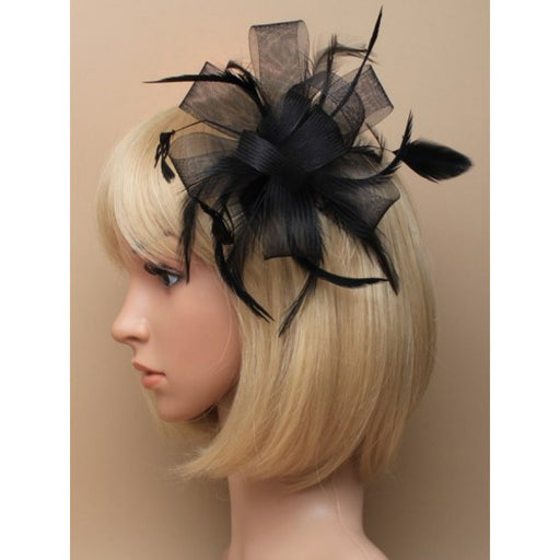 Black Fascinator on Headband/ Clip-in for Weddings, Races and Occasions-7787