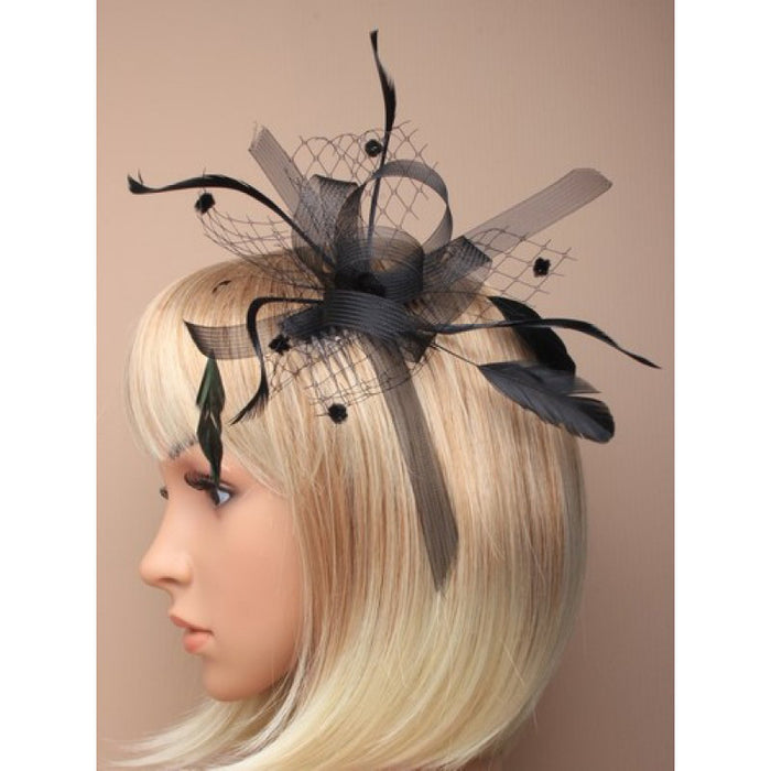 Black Fascinator on Headband/ Clip-in for Weddings, Races and Occasions-7791