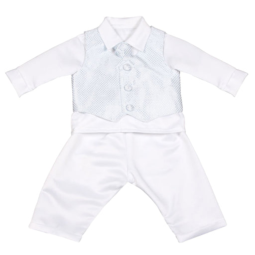 Vivaki 4 Piece White & Blue Check Christening, Wedding & Special Occasion Suit