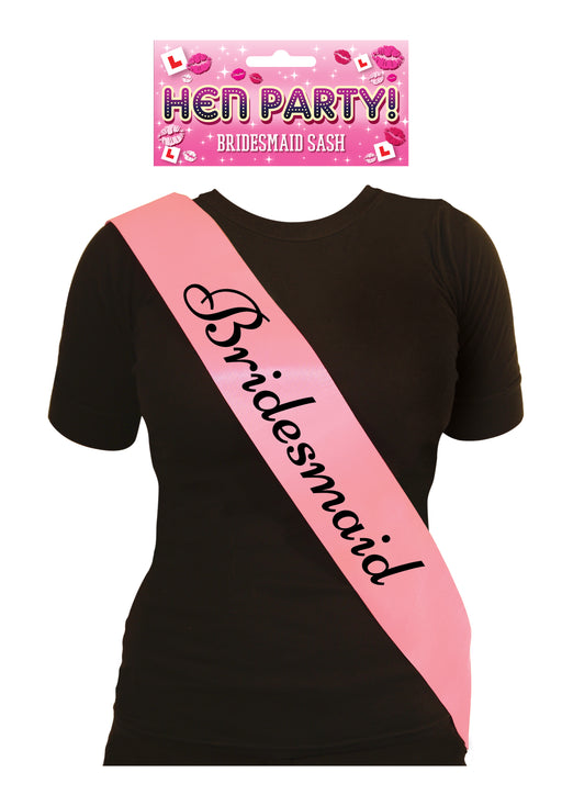 Hen Night Bridesmaid Pink Sash with Black Writing Hen Party Accessory