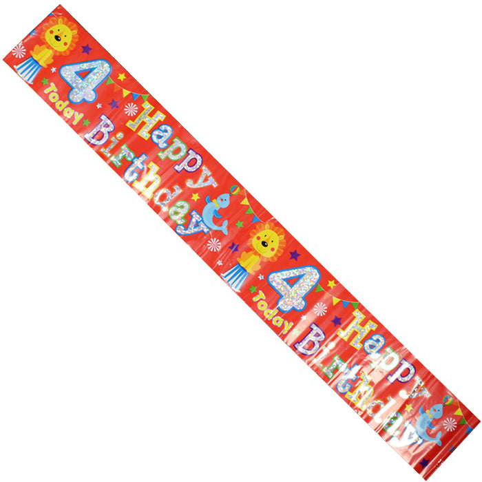 Celebration Party Banner Animal Circus 4th Birthday Decorations 26cm Long