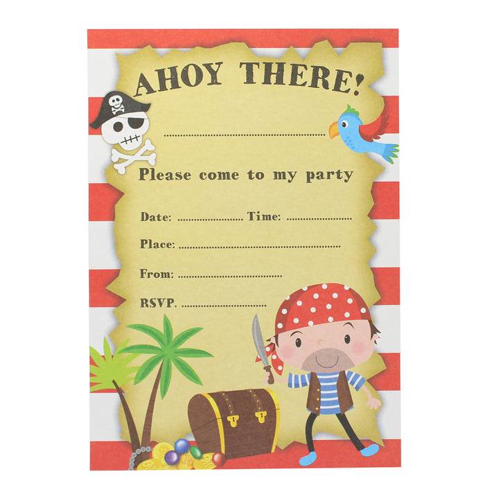 children s birthday party pack of 8 pirate party invitations