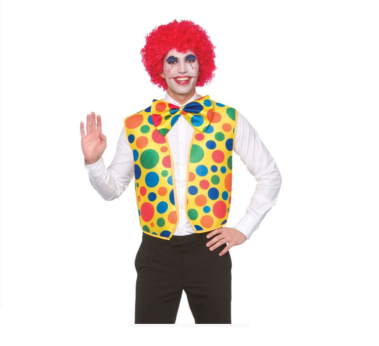 Adult Spotty Circus Clown Waistcoat And Bowtie Fancy Dress