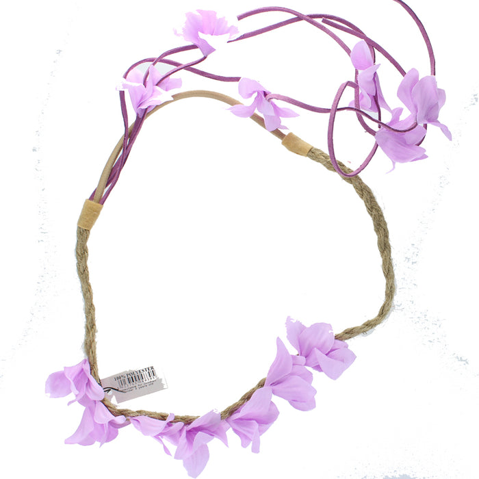 Coloured Fabric Flower Elasticated Hair Garland Bandeaux With Tassels -Lilac