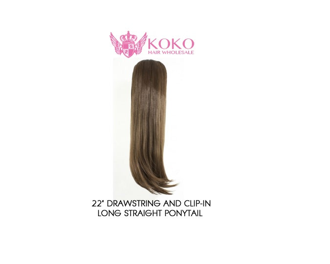 "22"" Drawstring And Clip-In Long Straight Ponytail Extension Hair Piece"