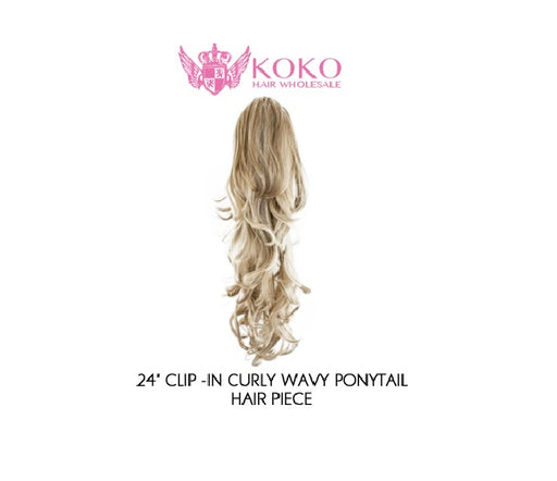 "24"" Clip-In Curly Wavy Ponytail Hair Piece"