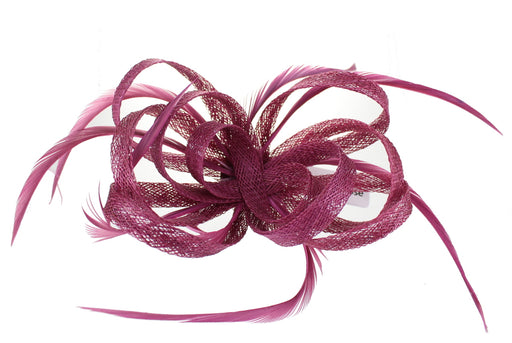 Cranberry Fascinator on Headband/ Clip-in for Weddings, Races and Occasions-6137