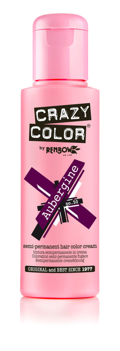 Crazy Color Renbow Semi-Permanent Hair Colour Cream Dye 100ml-Aubergine