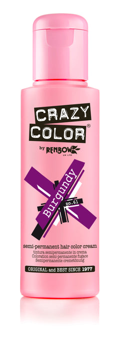 Crazy Color Renbow Semi-Permanent Hair Colour Cream Dye 100ml-Burgundy