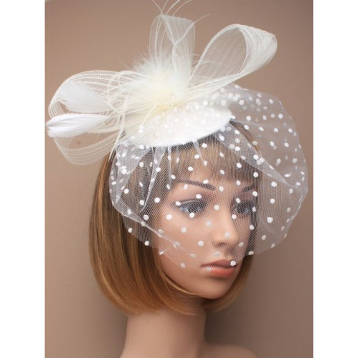 Cream Fascinator on Headband/ Clip-in for Weddings, Races and Occasions-4615