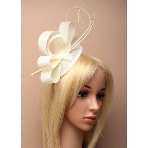 Cream Fascinator on Headband/ Clip-in for Weddings, Races and Occasions-5489