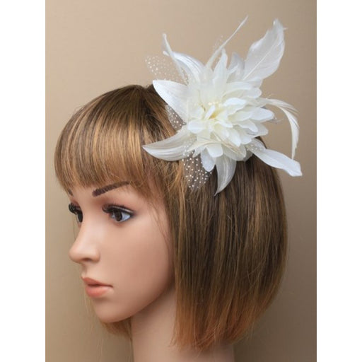 Cream Fascinator on Headband/ Clip-in for Weddings, Races and Occasions-7789