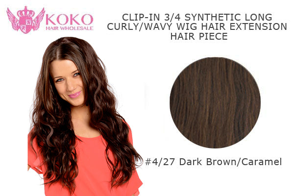 "26""  Clip-In 3/4 Synthetic Long Curly Wavy Hair Extension Half Head Piece-#4/27 Dark Brown/Caramel"