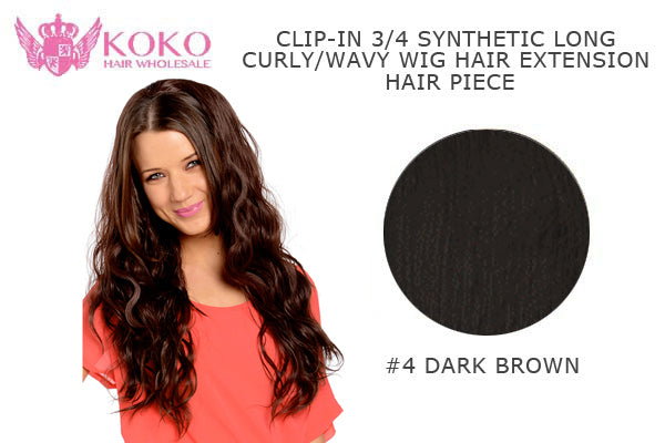 "26""  Clip-In 3/4 Synthetic Long Curly Wavy Hair Extension Half Head Piece-#4 Dark Brown"
