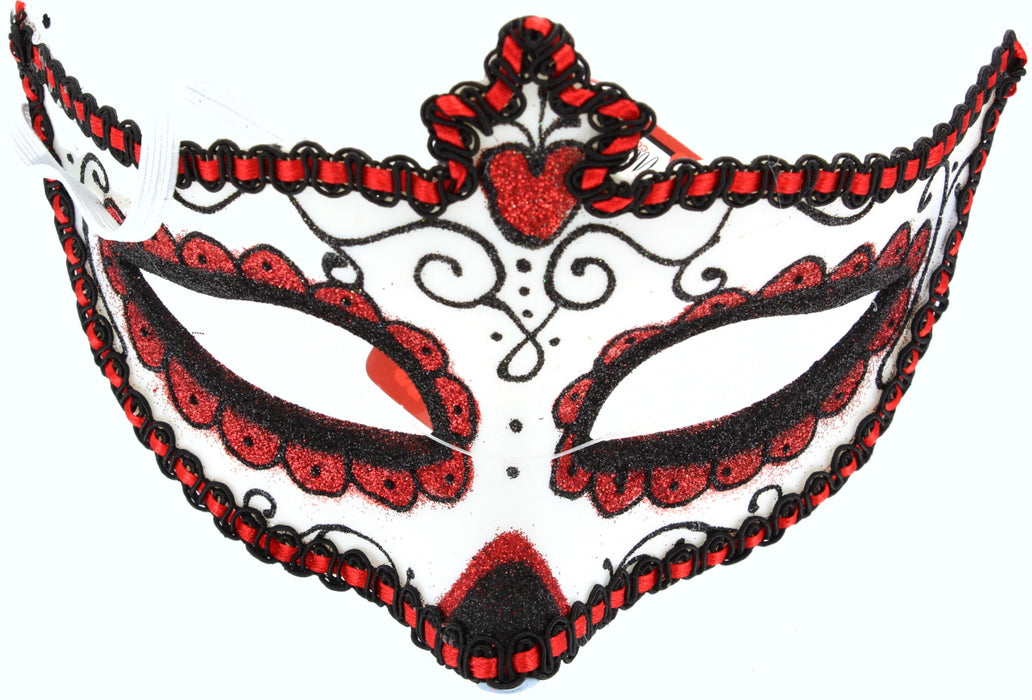 Day Of The Dead Adult Halloween Masquerade Glitter Eyemask Fancy Dress Accessory