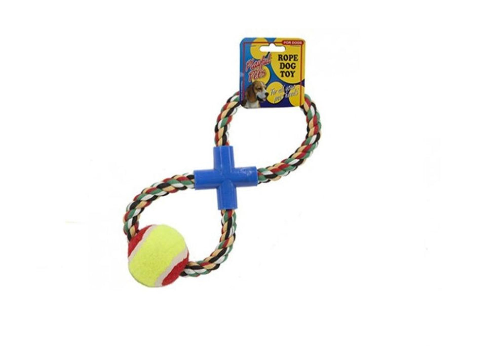 Playful Pets Figure Of 8 Dog Pet Multicoloured Rope With Ball Tug Toy