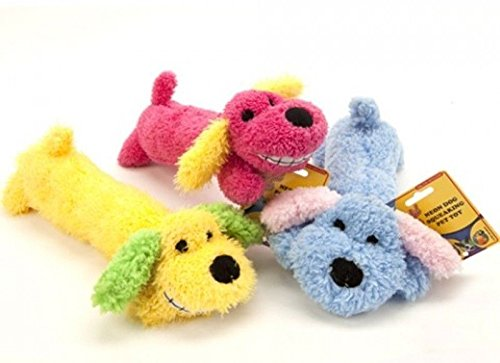 Playful Pets Plush Dog Neon Loofa Sausage Dog With Squeaker Pet Toy