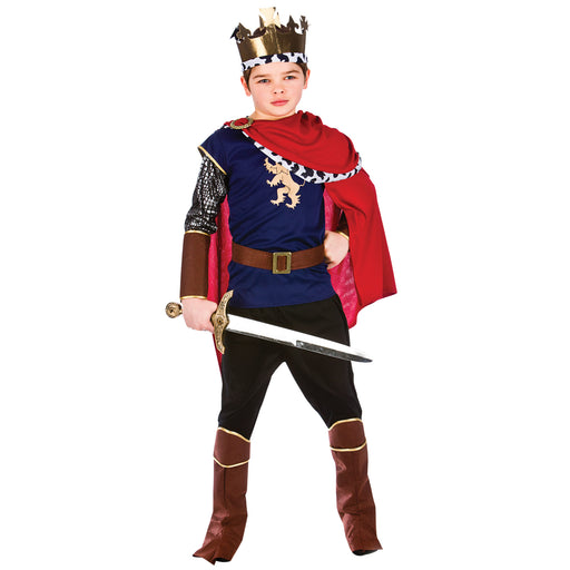 Deluxe Medieval King Childrens Fancy Dress Costume Top, Trousers & Crown