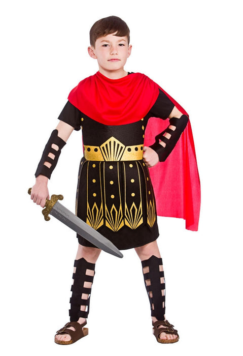 Roman Commander Boy Childrens Fancy Dress Costume Tunic, Armour Arm & Leg Guards-Medium 5-7 Years