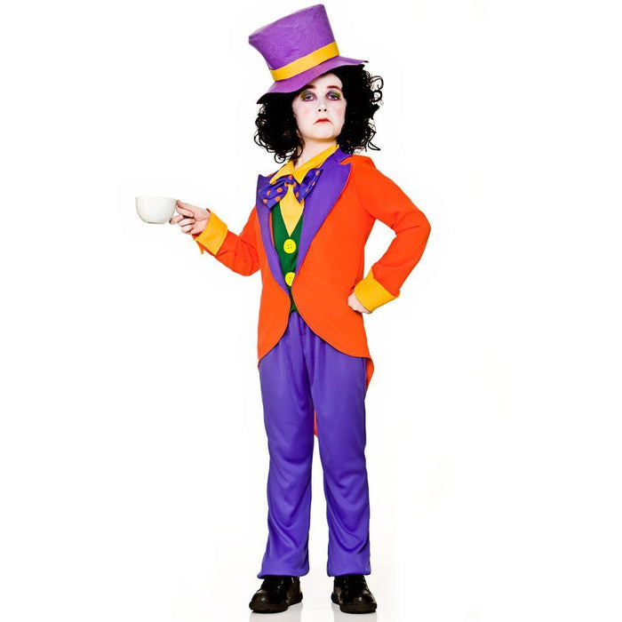 Whacky Charming Mad Boys Children Fancy Dress Costume Jacket, Shirt Front, Trousers & Hat-Large 8-10 Years