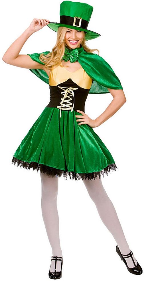 Lucky Leprechaun Irish Ladies Adult Fancy Dress Costume Dress Cape & Hat