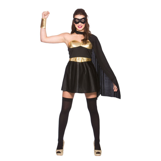 Wicked Women's Fancy Dress Black & Gold Hot Super Hero Costume