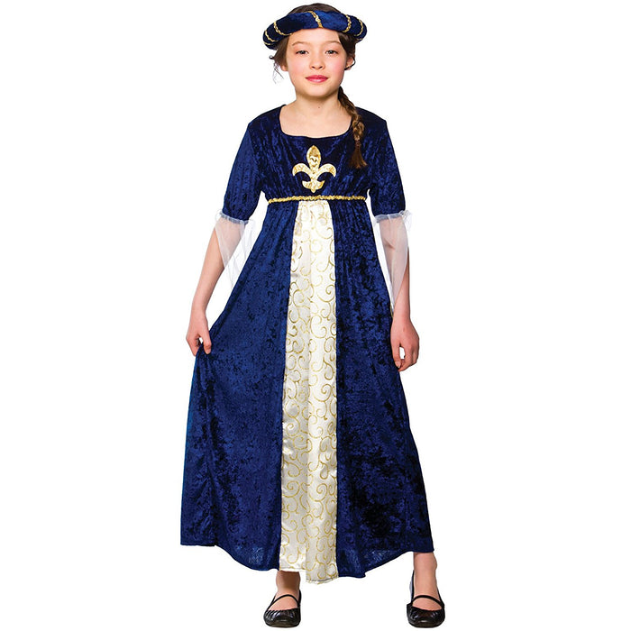 Tudor Princess Childrens Fancy Dress Costume Dress & Headpiece-Large 8-10 Years