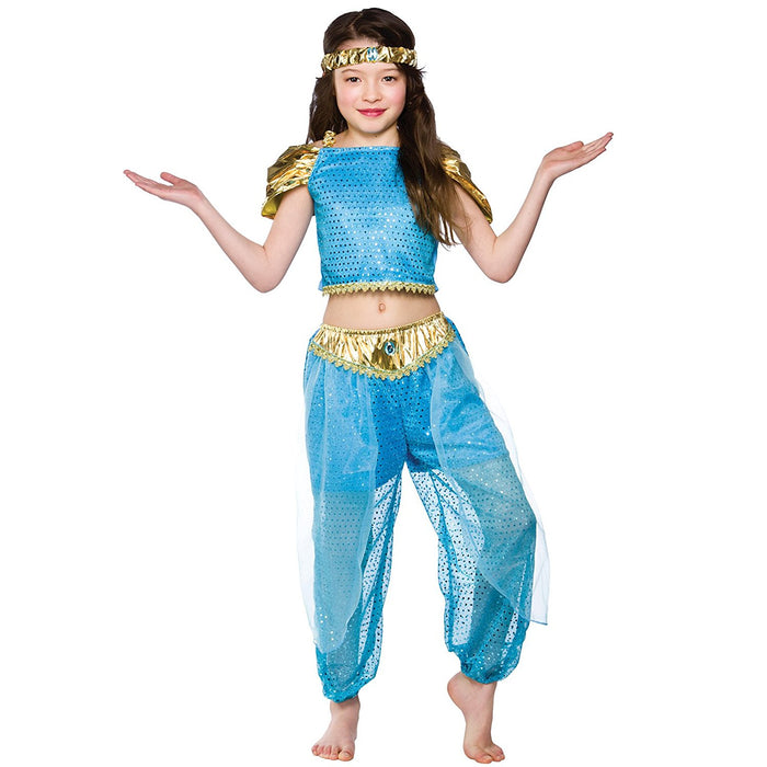 Arabian Princess Childrens Fancy Dress Costume Top Trousers & Headband-Small 3-4 Years