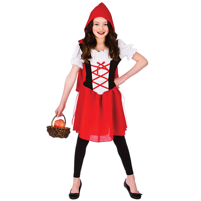 Little Red Riding Hood Childrens Fancy Dress Costume Dress with Hooded Cape-Medium 5-7 Years