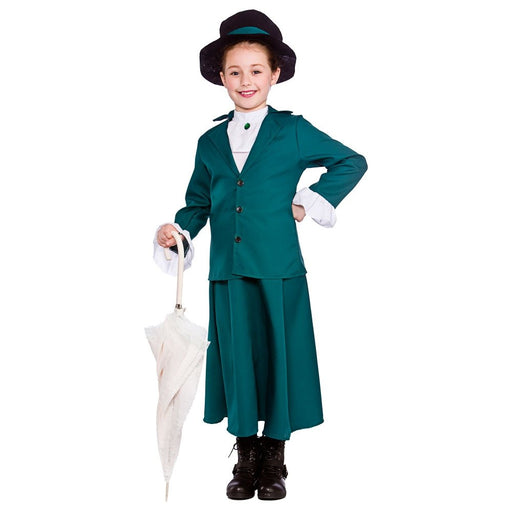 Victorian Nanny Girls Childrens Fancy Dress Costume Jacket Skirt, Shirt & Hat